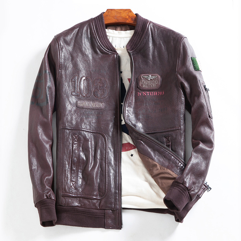 Sheepskin Leather Bomber Jacket Spring Autumn Top Quality Motocycle Coat Casaca De Cuero Genuino Hombre DWQ4017 MF506