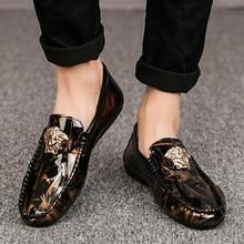 Взрывоопасная кожаная обувь с головой тигра; Всесезонная обувь в горошек; дикая обувь; мужская повседневная обувь без шнуровки; мужские модные кроссовки