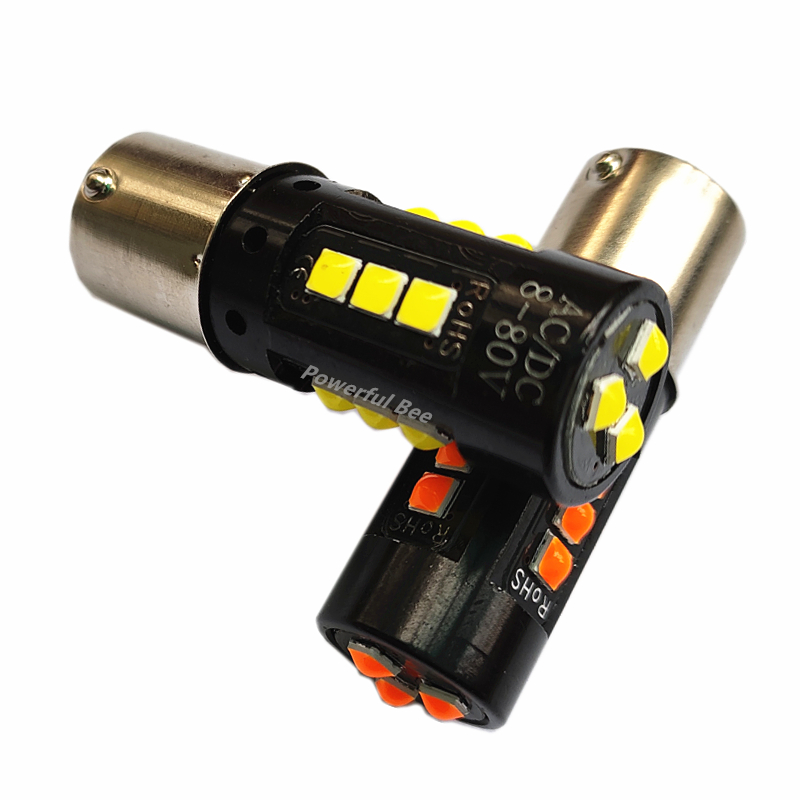 2 x New 30W power car motorcycle truck bus 1156/BA15S/P21W <font><b>LED</b></font> DRL reverse brake lights bulb white amber yellow AC/DC12-<font><b>80V</b></font> image