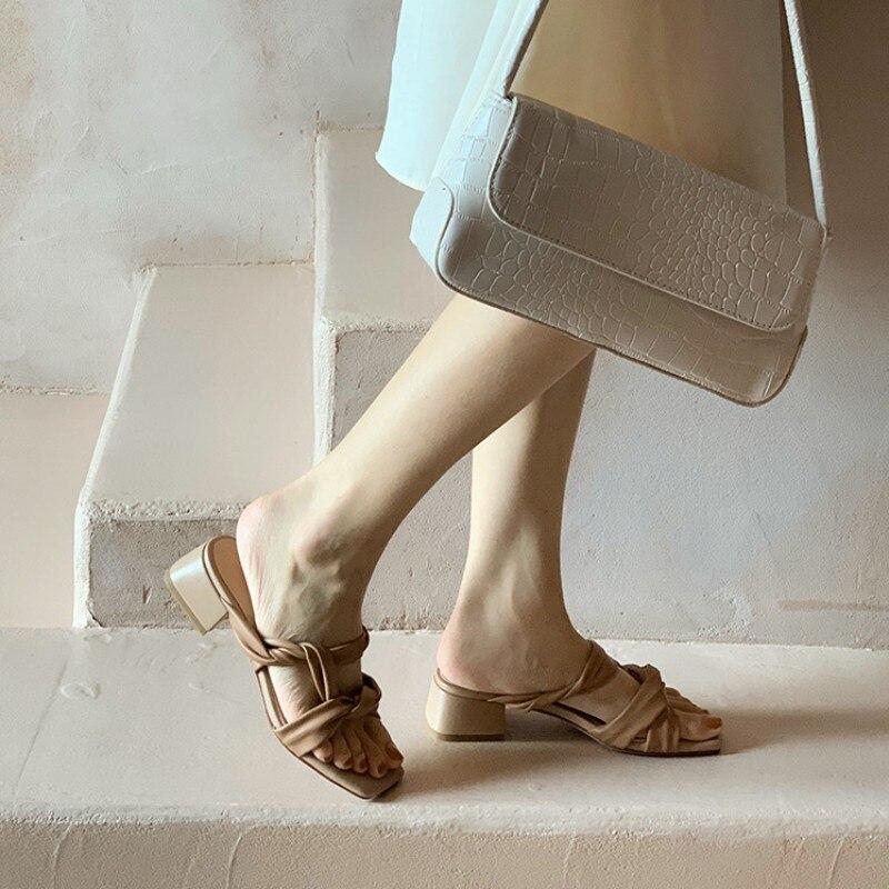 mules sandálias cor sólida couro genuíno escritório