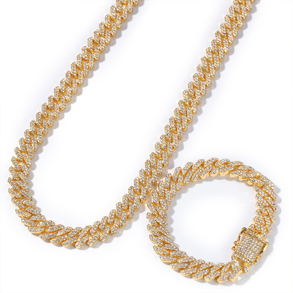 """Iced Out 13mm Miami Cuban Link Chain 8""""16""""18""""20""""24"""" Custom Necklace Bracelet Rhinestone Crystal Bling Hip Hop Men Jewelry"""