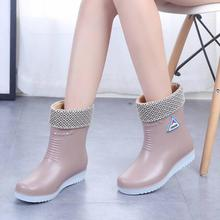 2019 Waterdichte Winter Schoenen Vrouw Mode Regenlaarzen Warm Pluche Anti slip Dames Werkschoenen Slip Op Platform Botas Mujer SH09241