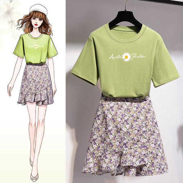 Girls Korean Sweet Daisy Print T-shirt Skirts Set Women Summer Cozy Cotton Short Sleeve Mini Dress Suit 2021 Fashion Clothing 3