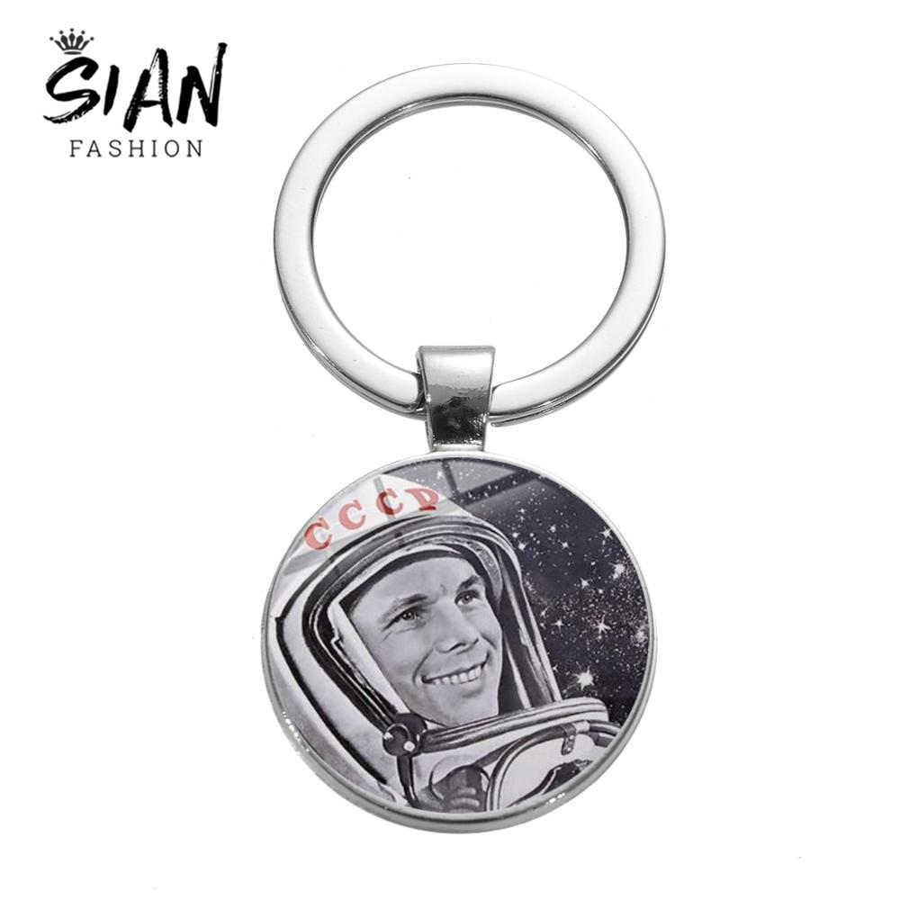 Sian Pro Kitty Penerbangan Ruang Angkasa Astronot Gantungan Kunci Klasik Logo Uni Soviet Rusia Lambang Bintang Merah Gantungan Kunci Kristal untuk Pria Wanita Hadiah Souvenir