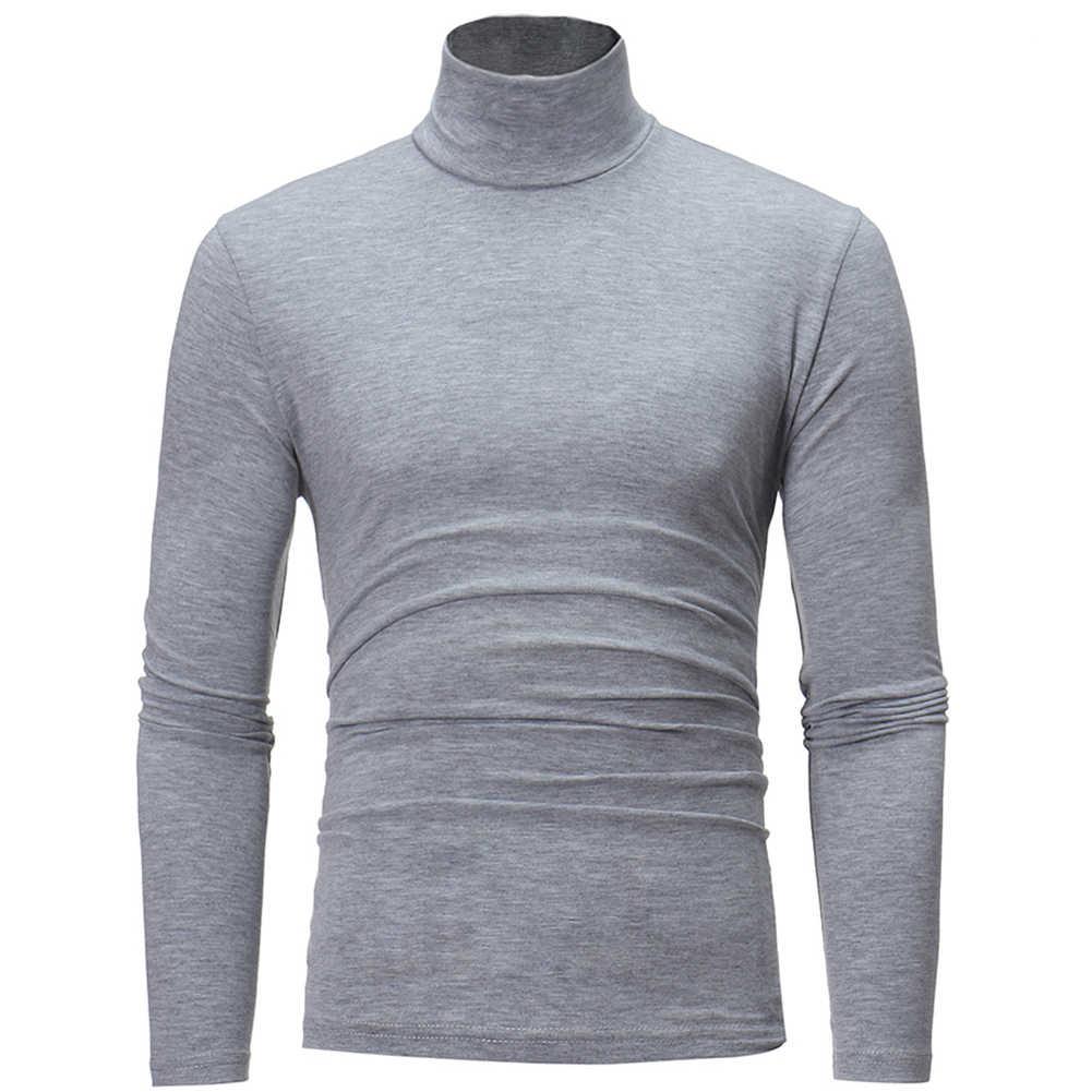Moda męska jednolity kolor z długim rękawem sweter z golfem najniższy Top