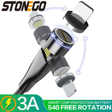 Stonego 540 ° que gerencie o cabo de carregamento, 3a cabos magnéticos de usb sincronização de dados de carregamento rápido tipo-c/micro cabo usb