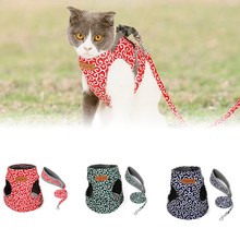kitten harness pet leash cat harness outdoor walk for small cat puppy chihuahua pet harness leash cat products Pet Dog Cat Vest Outdoor Travel Harness Leash Set For Puppy Cat Rabbit Floral Pattern Kitten Walking Harnesses Pet Cat Products