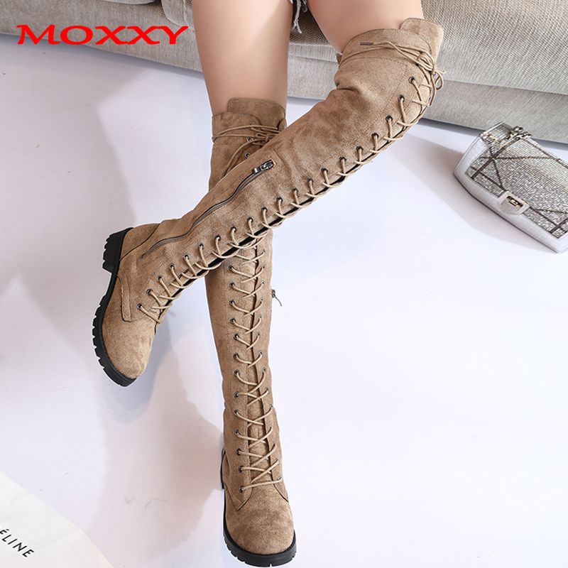 2019 New Sexy Ladies Lace Up Over The Knee Boots Plus Size 43 Platfrom Long Boots Women Shoes Thigh High Boots zapatos de mujer