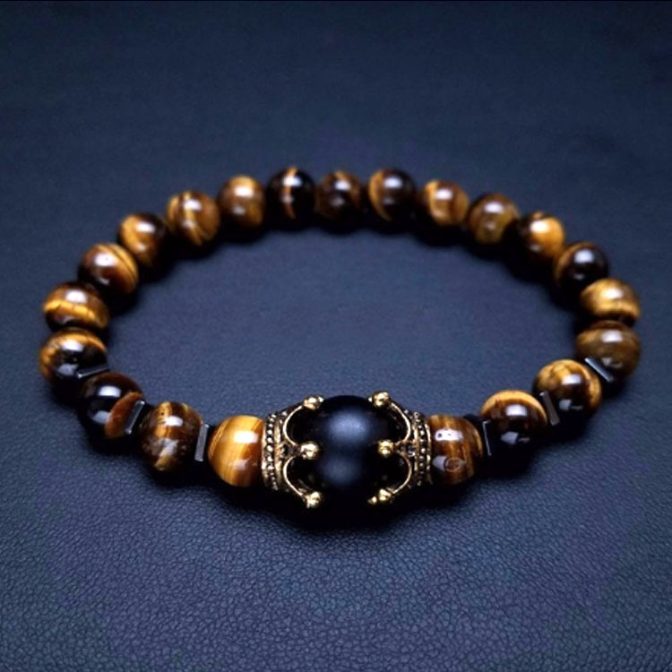 Vintage Crown Charm Bracelet for Men Fashion Luxury Natural Tiger Eye Stone Bead Bracelets Jewelry High Quality