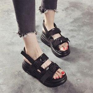 Image 4 - Cootelili sandálias gladiador feminino, sapatos de verão plataformas casuais femininas preto e branco plus size 41 42