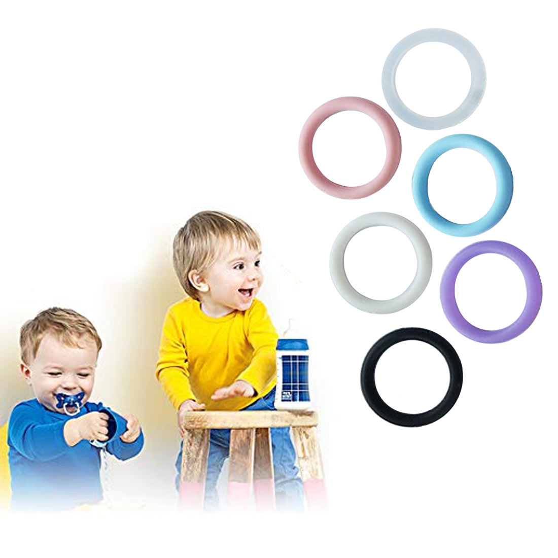 10PC O-Rings Silicone Baby Dummy Pacifier Chain Clips Adapter Holder for MAM Nipple & Accessories