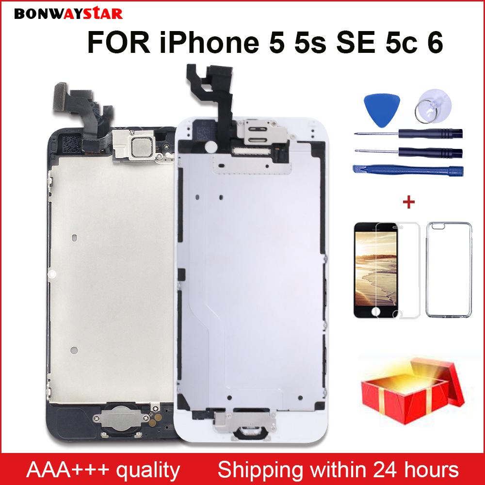 OEM LCD Screen For IPhone 5 5s 5c SE 6 Display Frame Full Set Assembly Touch Digitizer Replacement +Front Camera+Earpiece Speake