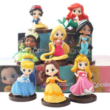 8pcs/lot Q Posket princesses figure Toys Dolls Tiana Snow White Rapunzel Ariel Cinderella Belle Mermaid PVC Figures toys