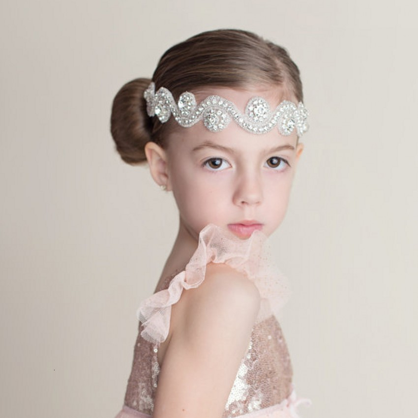 Girl Rhinestone Pearls HairBand headband Baptism Wedding Christening