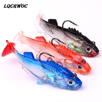 3D Eyes Lead Fishing Lures With T Tail Soft Fish Single Hook Baits artificial bait jig wobblers rubber 7.6cm 15.7g Swimbait lure цена 2017