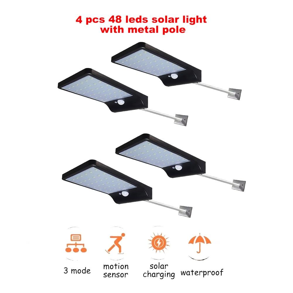 2/4pcs 48 LED Solar Powered Wall Light PIR Motion Sensor Street Outdoor IP65 Waterproof Pathway Garden Fence Lamp With 3Modes Se