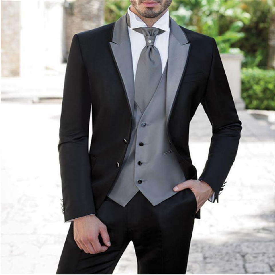 Custom Made Men Suit Black Tuxedos Party Dress Groom Groomsman Mens Suits Bridegroom 3 Piece (Jacket Pants Vest) Costume Homme