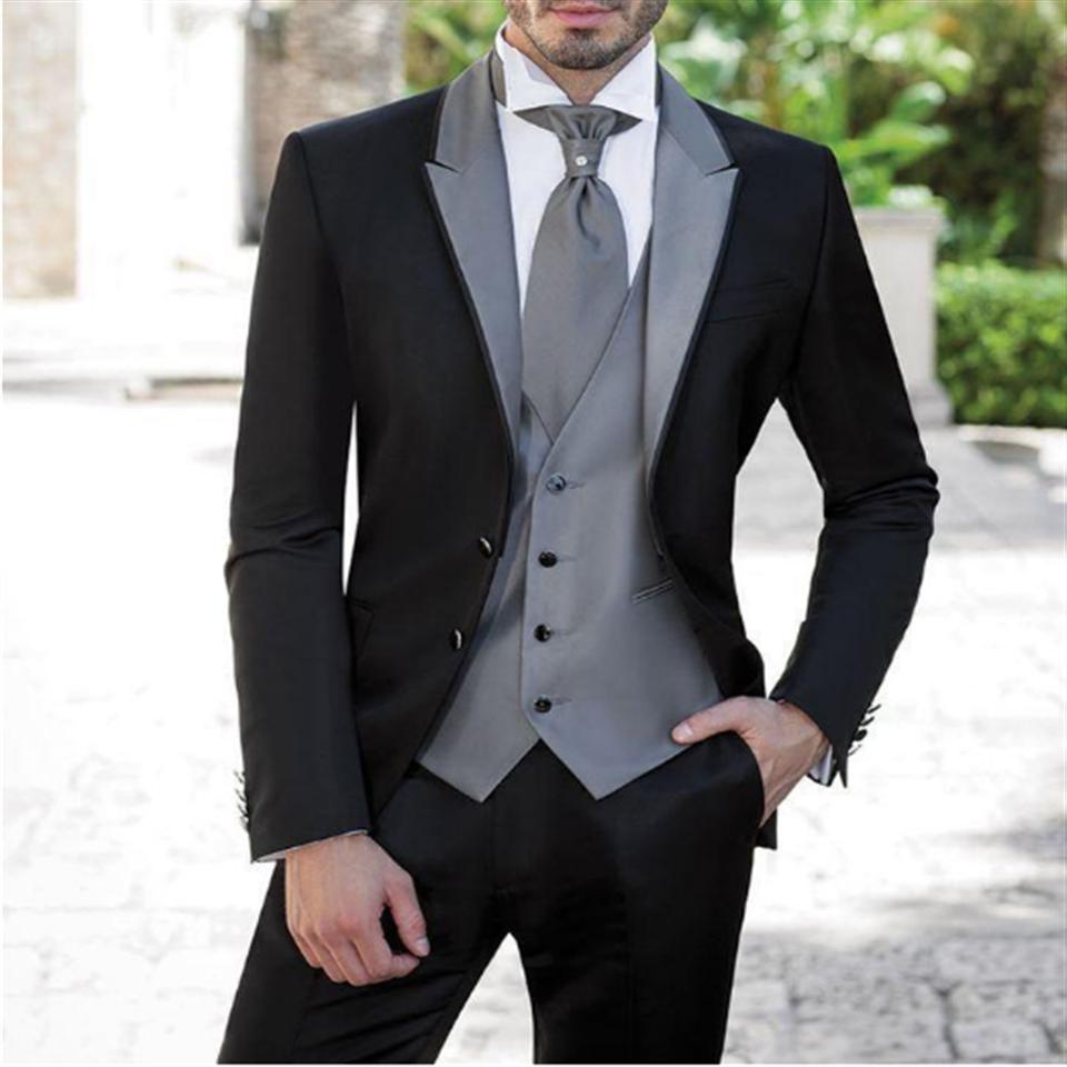 Custom Made Men Suit Black Tuxedos Party Dress Groom Groomsman Mens Suits Bridegroom 3 Piece (Jacket Pants Vest) Costume Homme