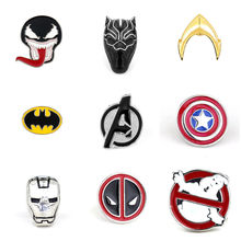 Marvel Pins Deadpool Ghostbusters Batman Brooches Pins Flash Captain America Superman brooches for men badge Hat Tie Tack Broche(China)