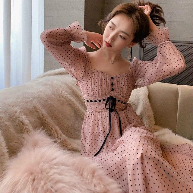 French Vintage Midi Dress Women Puffer Sleeve Square Collor Office Elegant Dress Female 2021 Spring Dot One Piece Dress Korean 3
