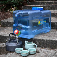 12L Lightweight Portable Outdoor Camping Car Water Carrier Bucket Canister Storage Container with Handle & Water Tap