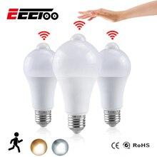EeeToo LED gece ışığı ampul PIR sensörü hareket AC 85 265V B22 E27 LED ampul lamba 12W 15W 18W 20W şafak vakti alacakaranlıkta ev için