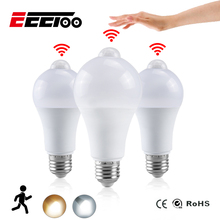 Eeetoo Nachtlampje Led Lamp Pir Sensor Motion Ac 85 265V B22 E27 Led Gloeilamp 12W 15W 18W 20W Schemeringsdimmer Licht Voor Thuis