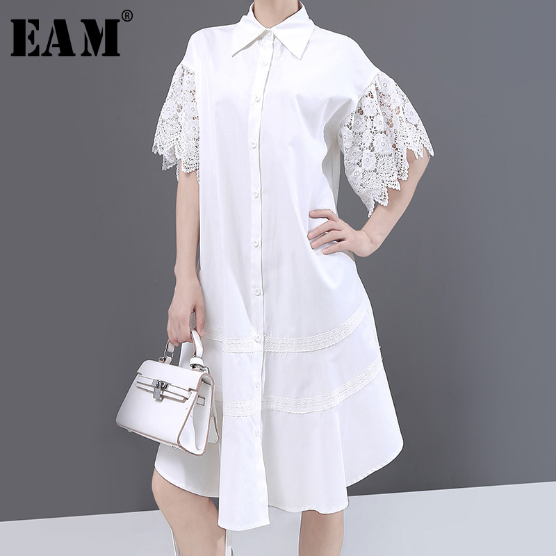 [EAM] Women White Lace Hollow Out Midi Shirt Dress New Lapel Half Sleeve Loose Fit Fashion Tide Spring Summer 2020 1W182