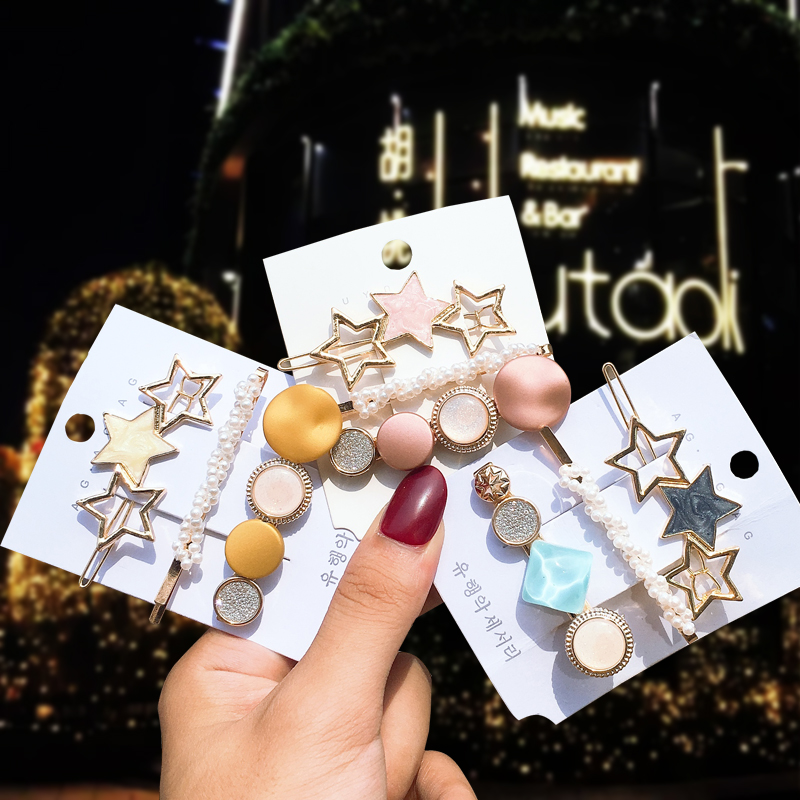 3PCS Fashion Hairpins Star Acetic Acid Plate Alloy Hairgrip For Girl Hair Clips For Women Girl Hair Accessories Side Clip