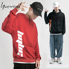 Yasword Print Men Casual Hoodies With Elastic String Sportswear Pullover Sweatshirt Tops Long Sleeves
