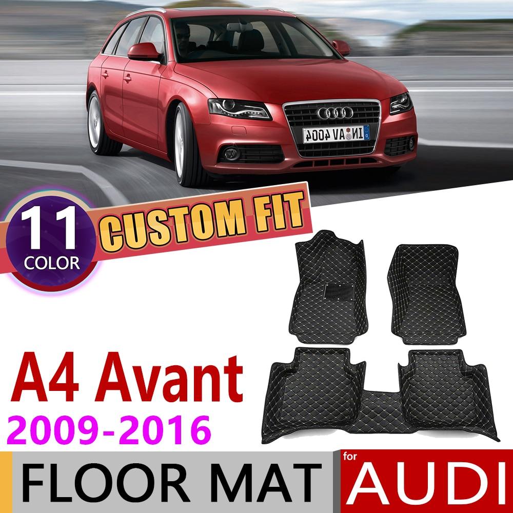 Custom Car Leather Floor Mats for Audi A4 Avant Wagon Estate B8 8K 2009~2016 5 Seats Auto Foot Pad Carpet Accessories 2010 2015|Car Stickers| |  - title=
