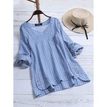Fashion Women Top Plus Size Women Blouse Cotton Linen Plaid Autumn V Neck Long Sleeve Blouse Button Loose Casual Shirt Blusas
