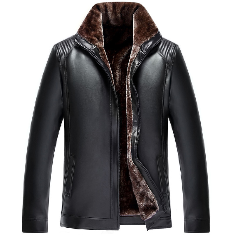 Winter Middle-aged Brushed And Thick Casual Stand Collar PU Jacket Coat Clothes Wandering Peddler Middle-aged Leather Coat Men's