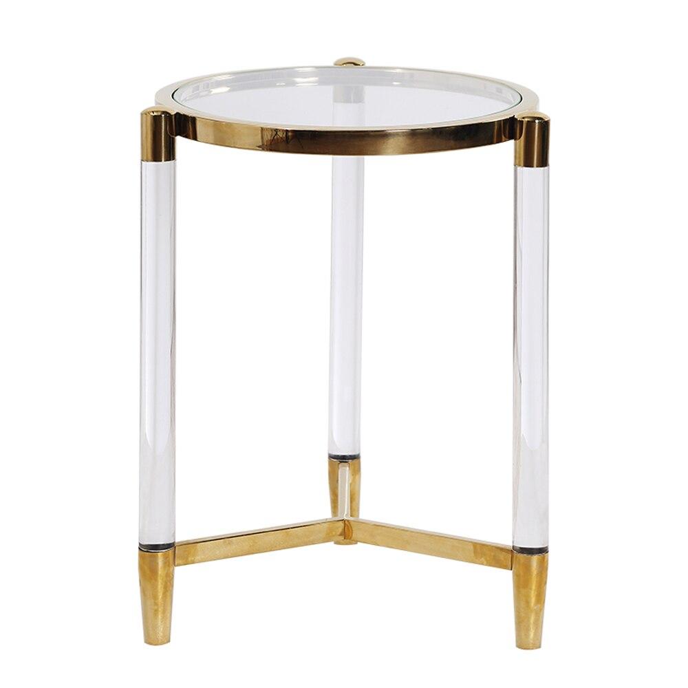 Sol гостиная прикроватный столик роскошный стиль прикроватный столик журнальный столик домашний декор мебель pellucid боковой диван стол круглый - Цвет: Transparent