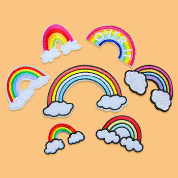 Embroidered Rainbow Cloudy Patches Iron On Fabric Stickers Sewing Garments Accessories DIY Patchwork Jeans Socks Badge image