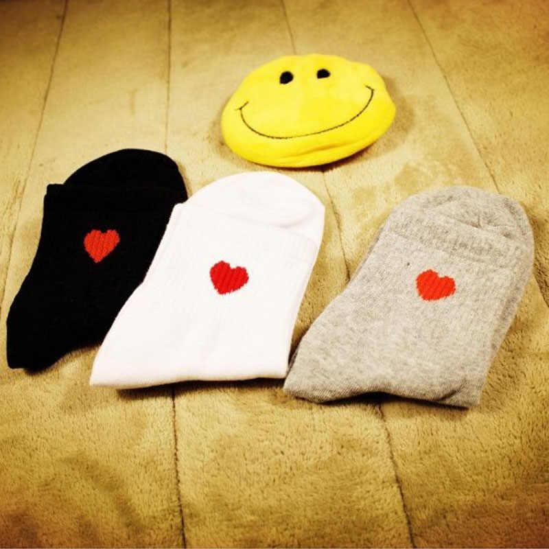 Halajuku красные сердца милые колледжа Ветер простые базовые свежие женские носки