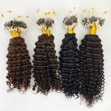Brazilian Remy Human Hair Extensions Kinky Curly Fish Line Micro Loop Hair & I Tip Micro Beads Hair 100g #1 #2 #4 #6 #8 #27#30