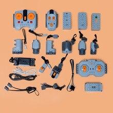 Legoins-Bloque de construcción Compatible con tecnología, motor pf, servodirección, control remoto, tren, caja de batería, juguetes de ensamblaje de aplicación