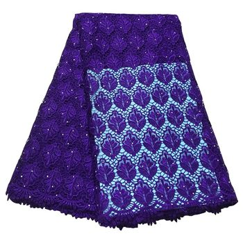 purple chemical cord lace fabric guipure lace fabric with stone for wedding Ki023