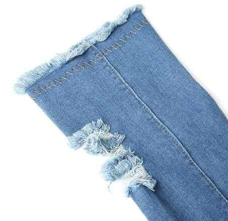 Sexy Laarzen Vrouwen Dij Hoge Laarzen Over De Knie Hoge Bottes Peep Toe Pumps Gat Blauw Hakken Rits Denim Jeans schoenen Botas