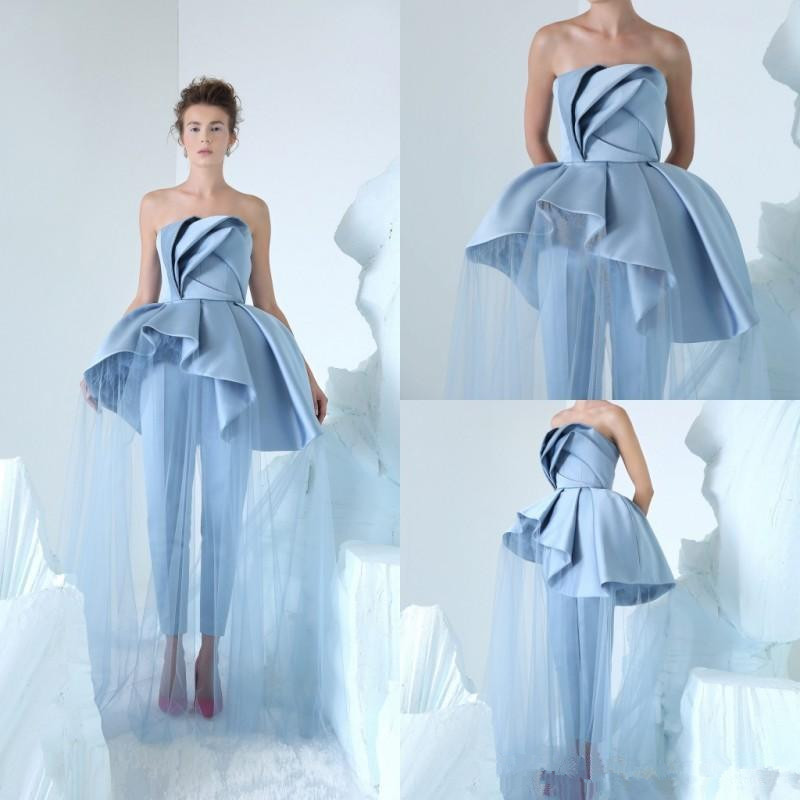 2020 Blue Jumpsuits Prom Dresses Simple Strapless Neck Cheap Celebrity Party Gowns Peplum Long Formal Evening Dress