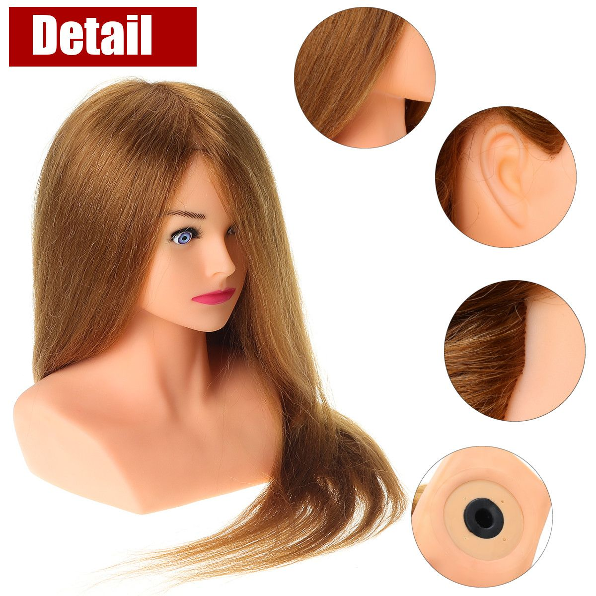 Hairdressing Mannequin Head With 100% Natural Human Hair For Hairstyles Hairdressers Curling Practice Training Head 24 Inches