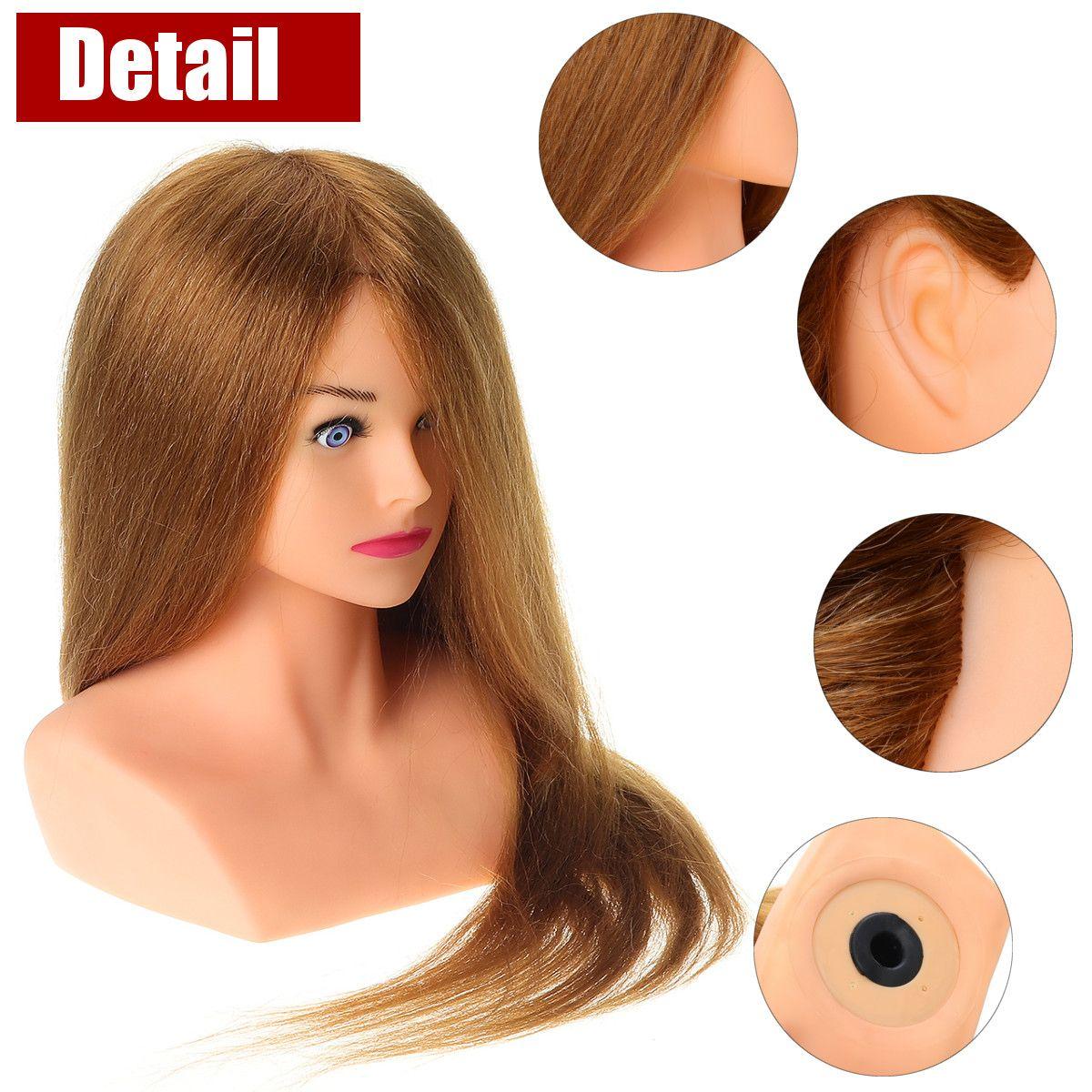 Tête de Mannequin de coiffure avec 100% cheveux humains naturels pour coiffures coiffeurs Curling pratique tête d'entraînement 24 pouces