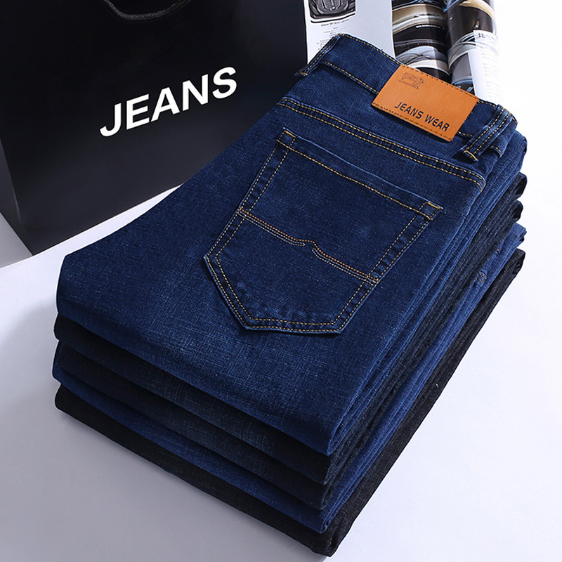 2019 Spring And Summer Thin Men's Business Straight-Cut Stretch Denim Trousers Versitile Fashion Large Size Jeans Men's