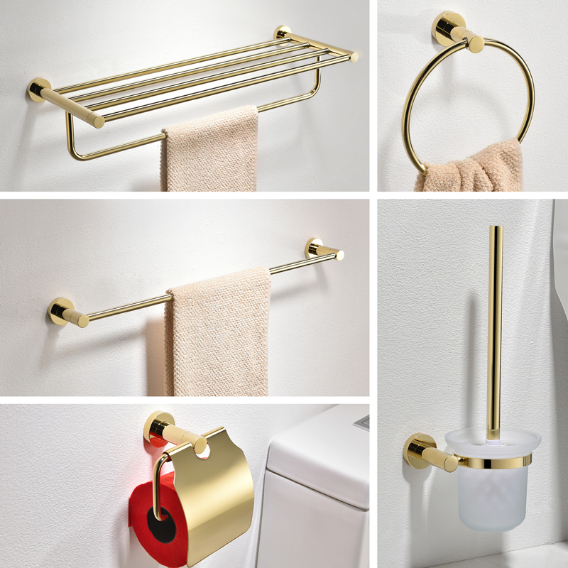 Nordic Towel Rack 60cm Stainless Steel Bathroom Set Accessories Gold Toothbrush Holder Glass Cup Wall Paper Holder image
