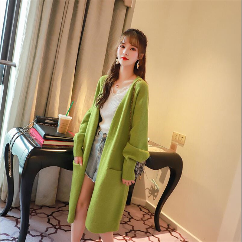2019 Avocado Green Sweater Cardigan Female Long Knees Solid Full Sleeve Pockets Autumn Loose Sweater Jacket