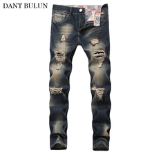 цена на Mens Retro Clothing Denim Jeans Straight Washed With Pleated Ripped Holes Biker Jeans Slim Fit Jeans Men Pants Hot Sale