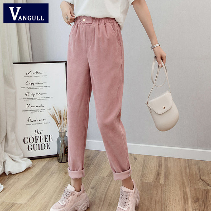 Vangull Women Corduroy Harem Pants Solid High Wait Loose Casual Ankle-Length Pants Autumn New Elastic Waist Korean Version Pants