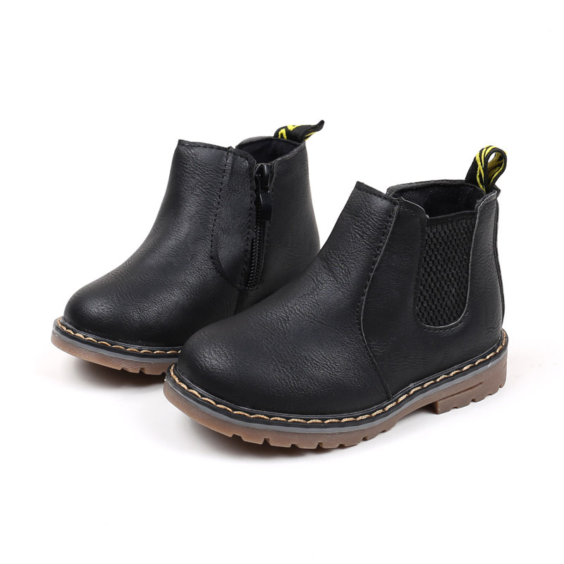 Children's Boots Fur Lined Boys Girls Baby Short Ankle Snow Boots Waterproof Side Zipper Winter Shoes Kids Infant Martin Booties 3