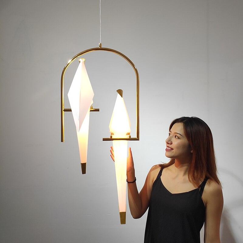 Pájaro nórdico LED luces colgantes Origami grúa pájaro lámpara colgante dormitorio sala comedor interior decoración para el hogar accesorios de cocina